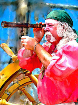 painted pirate looking through spyglass